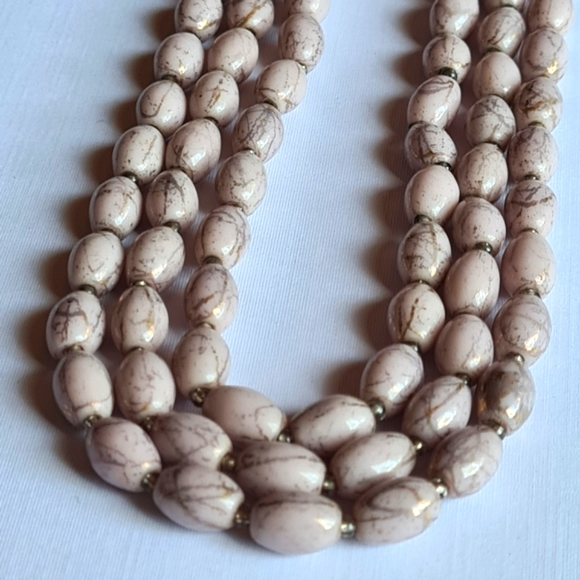 Vintage Beaded Pink Patterned Fashion Necklace